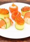 サーモンときゅうりの手まり寿司