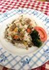 あさりと高野豆腐の煮物で、あさりごはん