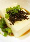 塩昆布+麺つゆ+酢+ごま油の冷奴