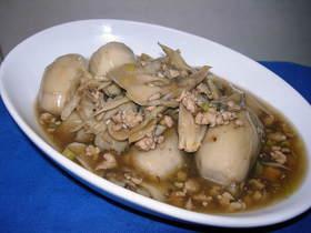 ✽里芋と舞茸炒め甘酢そぼろあんかけ✽