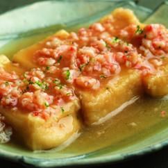 高野豆腐の揚げ煮えびそぼろあん