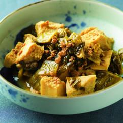 高菜漬けと高野豆腐の煮込み