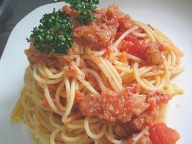 蟹のトマトスパゲッティ