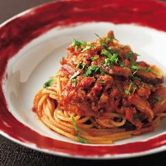 スパゲッティ乾燥しいたけとツナのボスカイオーラ
