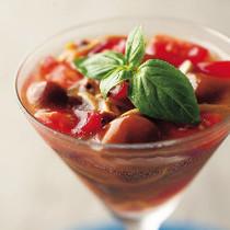 なめこと柿の木茸のトマトゼリー寄せ