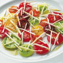 トマトのカルパッチョとシャンピニオンフレッシュ
