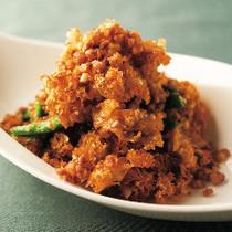 はなびら茸と挽き肉のパラパラ炒め