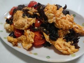 卵トマトキクラゲの中華炒め