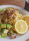 カリカリ豚とアボカドの塩レモンパスタ