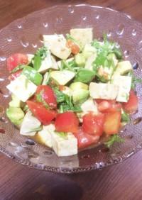 島豆腐と水菜とアボカドとトマトのサラダ