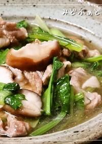麺つゆで✿小松菜と豚肉のさっと煮