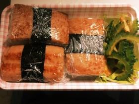 スパムおにぎり、チャンプルーの沖縄弁当♡