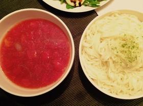 肉じゃがリメイク◎トマトスープうどん