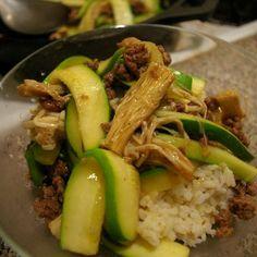 挽肉とズッキーニ(茄子)のナンプラー丼
