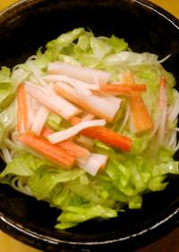 簡単昼食 レタスとそうめんの冷やし中華風