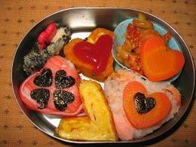 ハートがたくさん バレンタインのお弁当