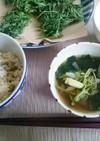 天つゆ、米粉と米糠のよもぎ天ぷら