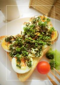 パセリたっぷり♡ 茹で卵の和トースト