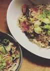 マグロ納豆と海藻と大根のサラダと九条ねぎ