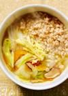蒸し鶏と野菜の雑穀スープ風