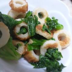 わさび菜とちくわの簡単めんつゆ炒め