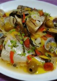 鯛や魚介をフライパンで本格アクアパッツァ