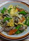 豚肉とスナップエンドウと玉ネギの玉子炒め