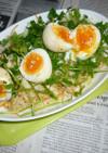 焼き卵+チャービル&カット野菜のサラダ