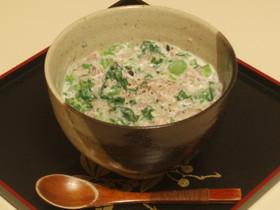 菜の花の豆乳リゾット(玄米ごはんで)