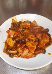 鶏肉と小松菜のトマトソース煮込み