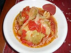 ピリッとするトマトスープ*ロール白菜
