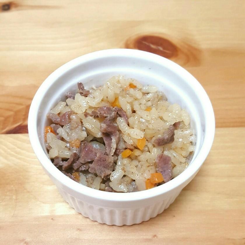 【離乳食後期〜】牛肉とごぼう炊き込みご飯