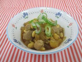 簡単給食 大豆と豚肉の煮物