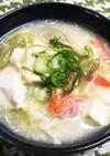 レタスと豆腐のカニカマ入りかき玉スープ