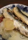 夕食♪美味♪塩麹イワシで煮魚~玉ねぎ添え