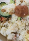 納豆とポテサラの南高梅ご飯