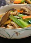 干し椎茸で簡単★小松菜と油揚げの煮浸し