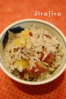 ゴマ香る☆サツマイモの黒胡麻ご飯