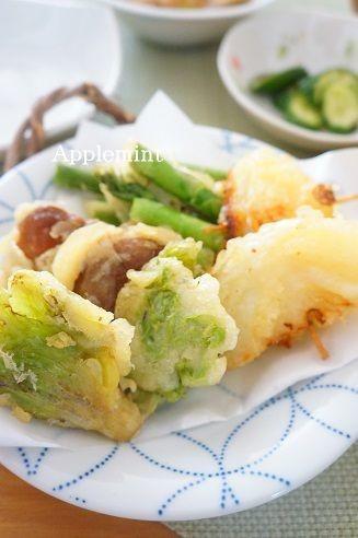 ふきのとう、アスパラ、新玉ねぎの天ぷら
