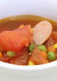 朝食メニュー トマトとソーセージのスープ