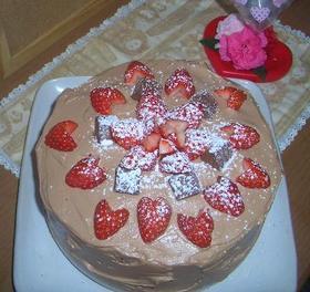 真っ赤なハートのチョコケーキ