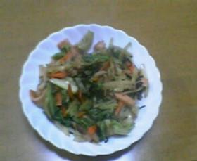 超簡単!魚肉ソーセージと野菜の塩昆布炒め