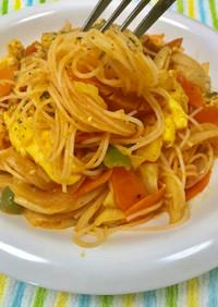 野菜ジュースでレンチンビーフン(5分)