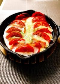 モッツァレラ&トマト&ベーコンでおつまみ