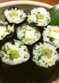 蕗と筍の細巻き 蕗の葉入りの酢飯で