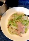 レタスとハムと素麺でチャンプルー