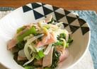 新たまねぎと小松菜のおじゃこニンニク醤油