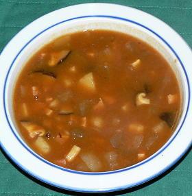 角切り野菜のトマト風味カレースープ