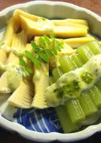 蕗と筍の煮物 木の芽(山椒の葉)ソース