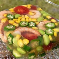 季節野菜の寒天寄せサラダ